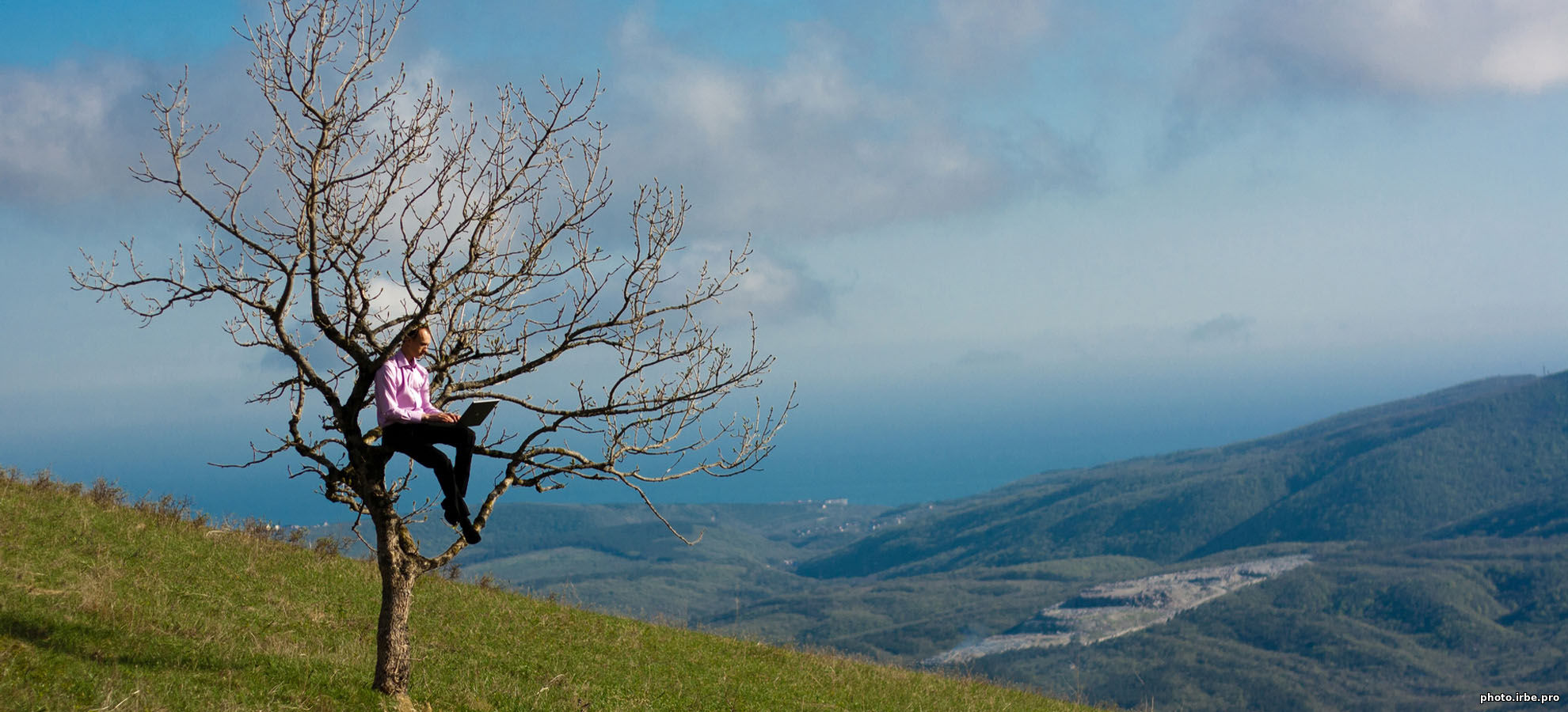 профессиональное фото мужчины, сидящего на ветке дерева, которое растет на Маркхотском хребте рядом с Кабардинкой